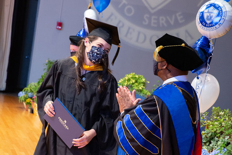 Fredonia 2021 graduates savor in-person Commencement 'stage walks'