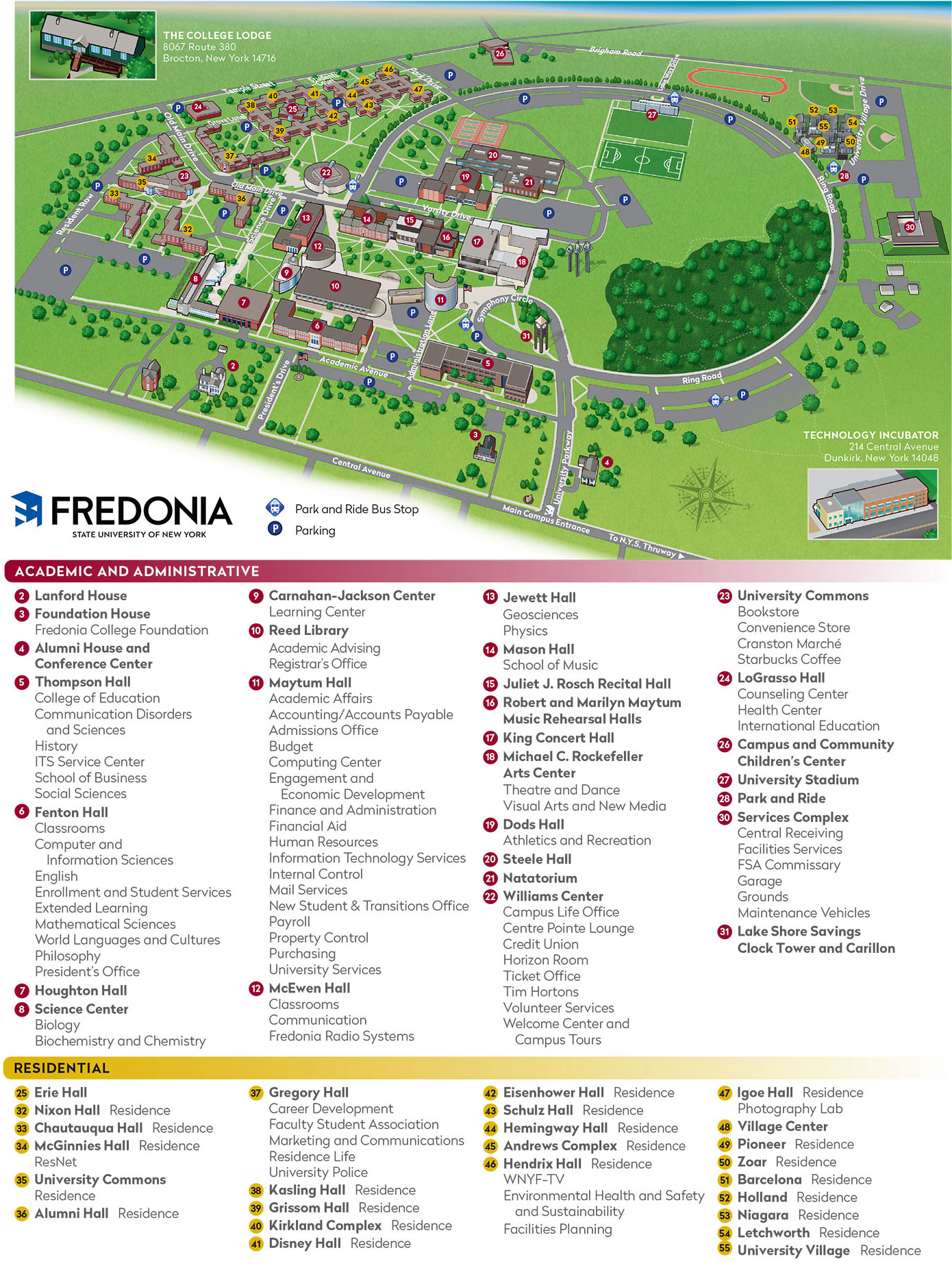 Campus map of State University of New York at Fredonia