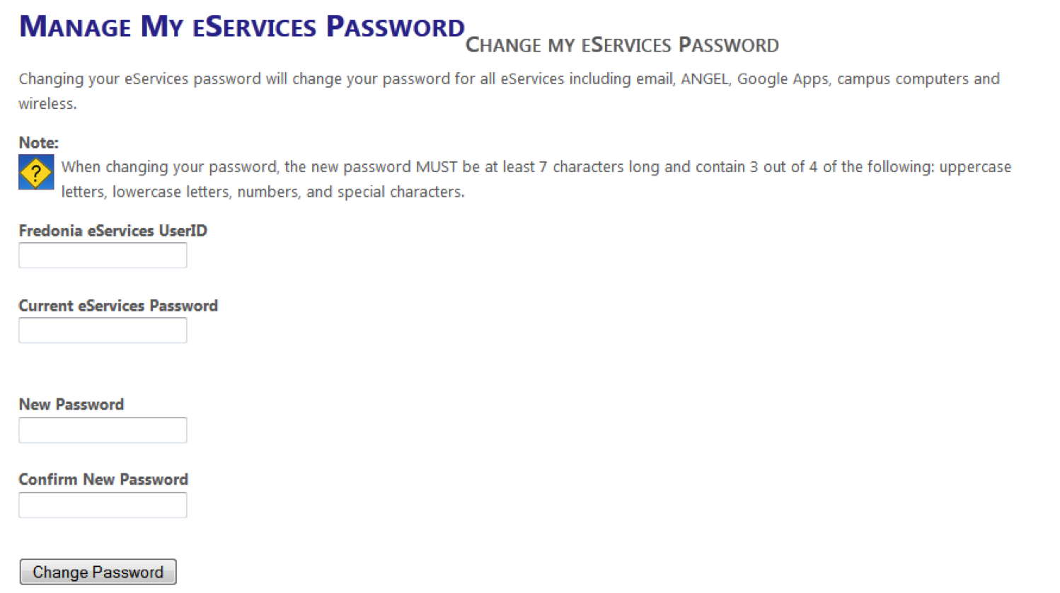 Manage My eServices Password