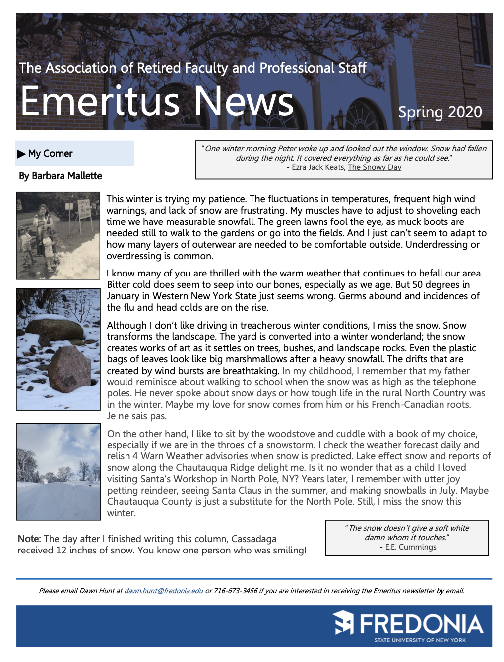 Click to Download the Emeritus News from The Association of Retired Faculty and Professional Staff