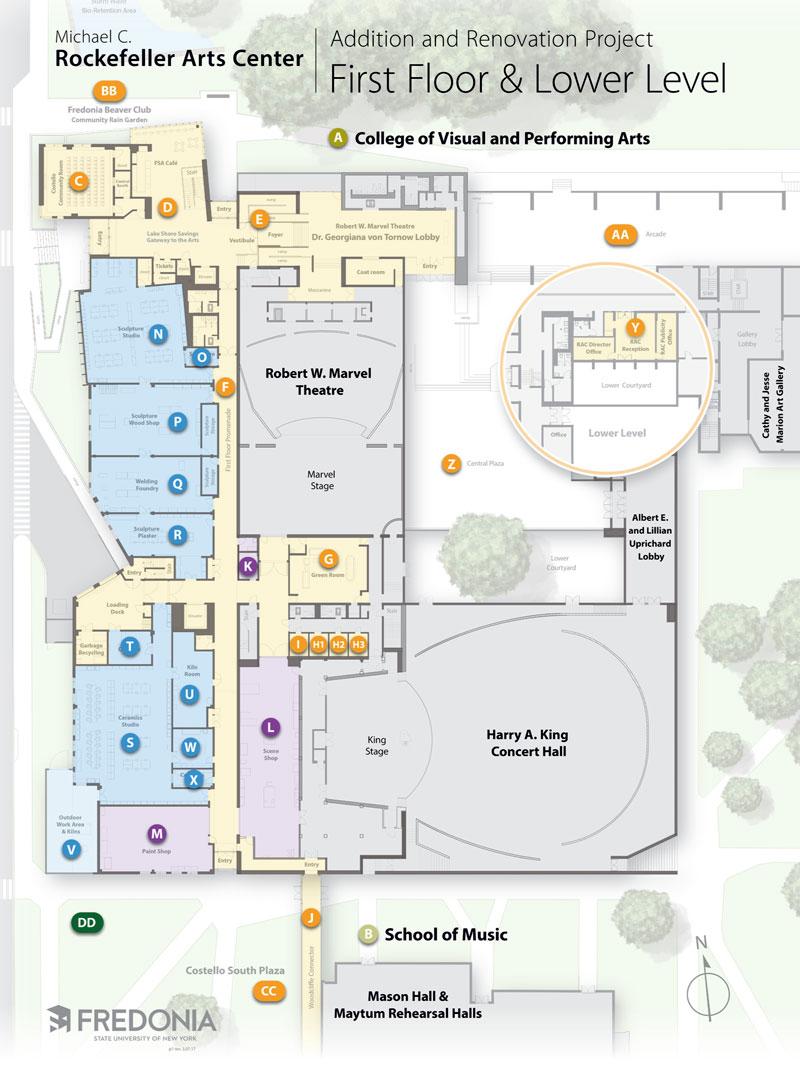 Rockefeller University Campus Map.First Floor Of The Rockefeller Arts Center Addition Fredonia Edu