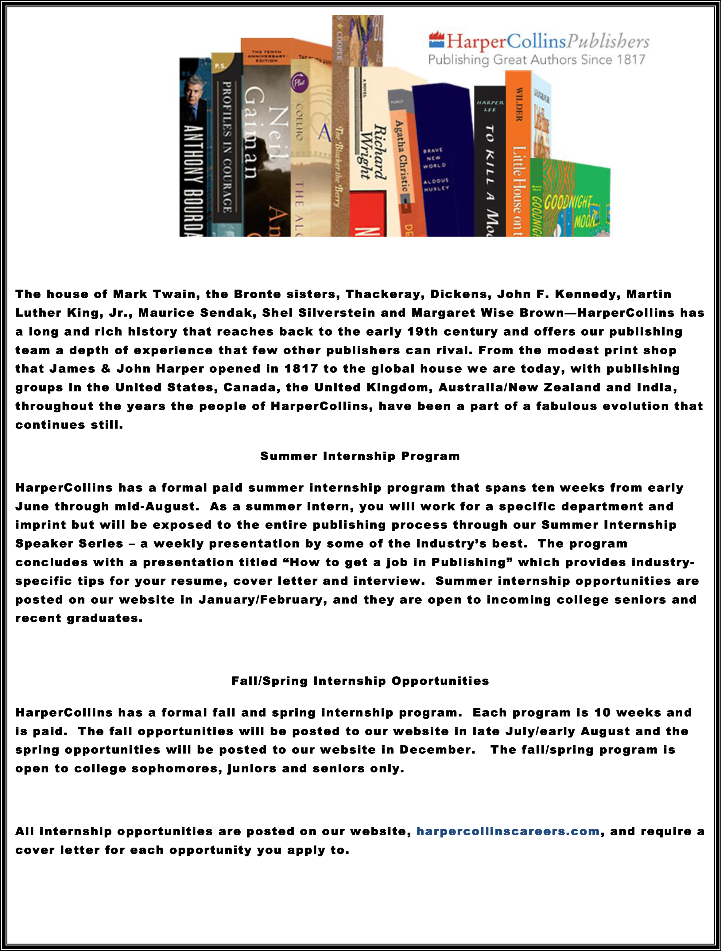 Harper's Publishing Internship