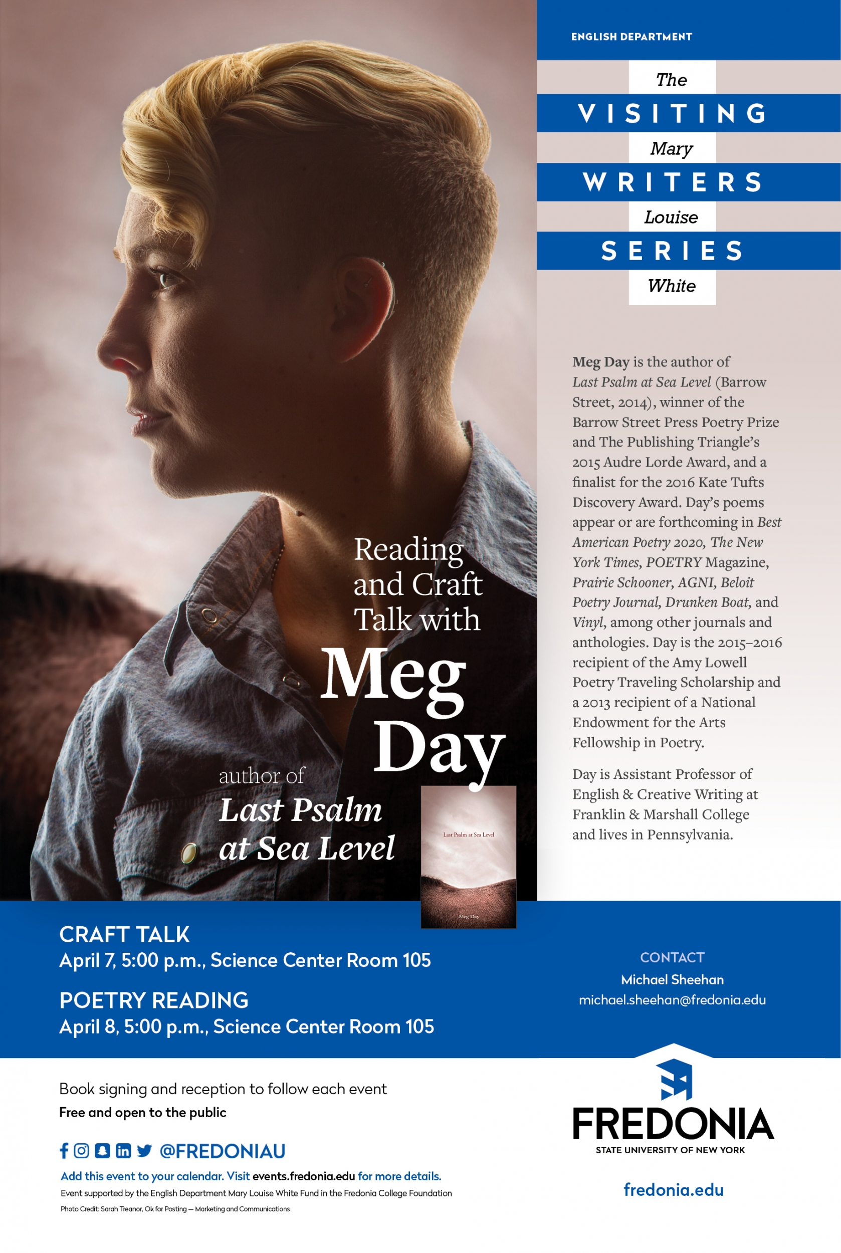Meg Day, Mary Louise White Visiting Writers Series, April 2020