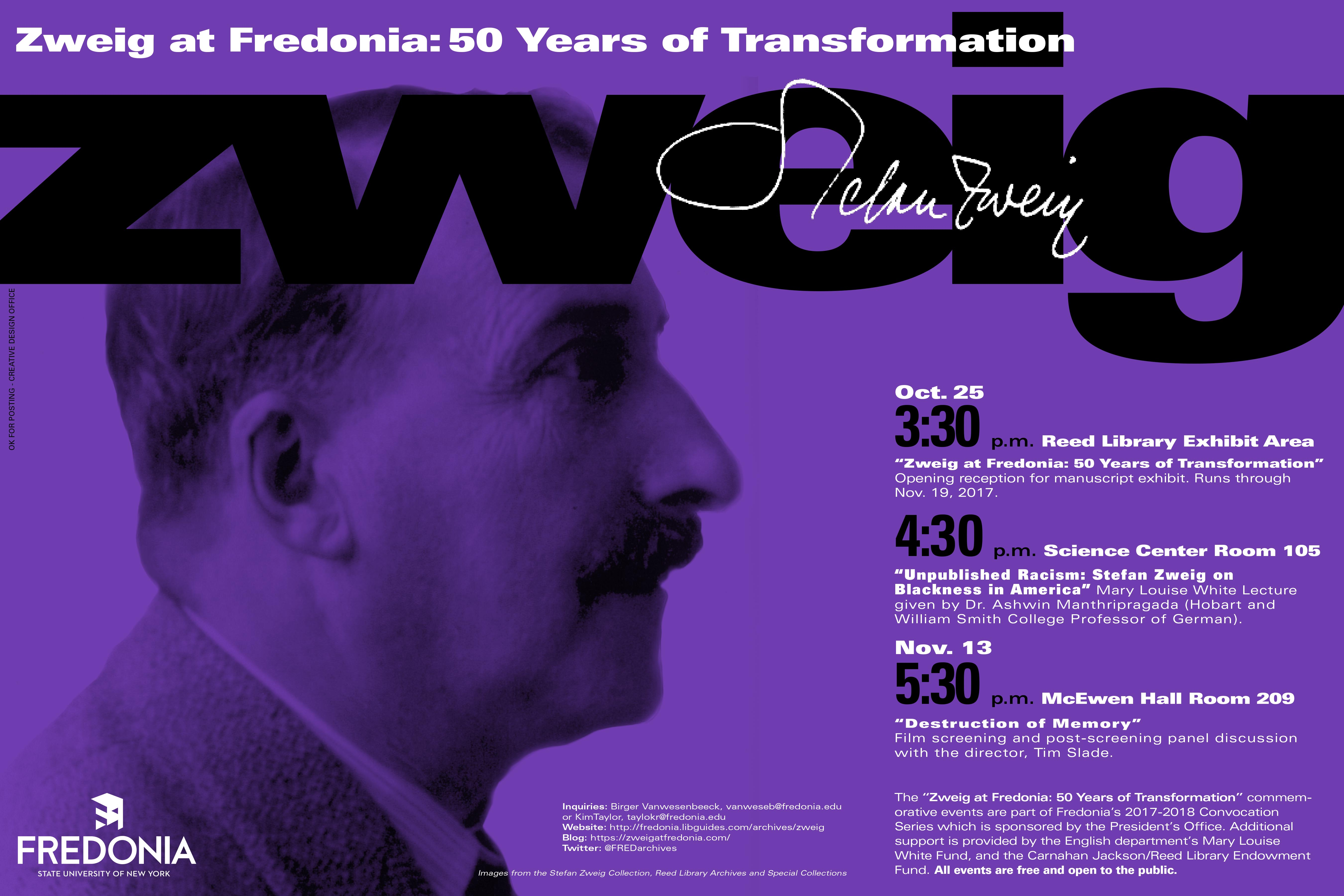 Zweig at 50 Poster, including notice of MLW Lecture by Ashwin Manthripragada, Oct. 25, 2017, 4:30-5:30 p.m., Science Center 105, Kelley Family Auditorium.
