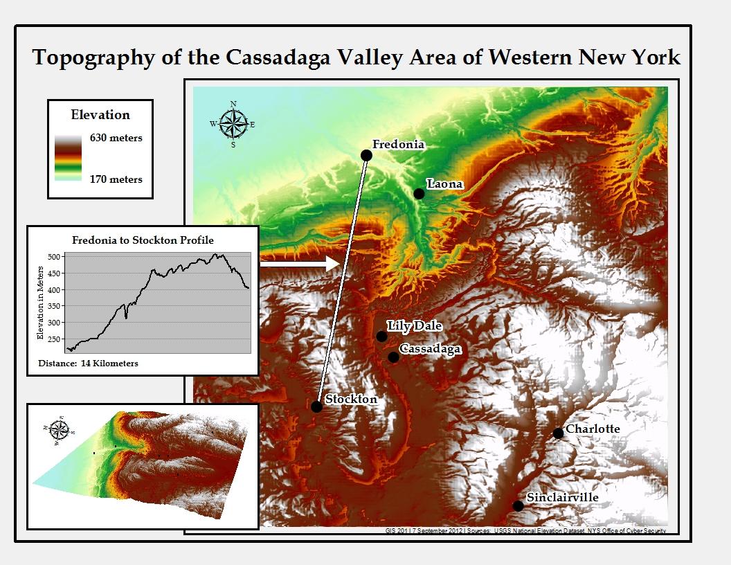 Nys Elevation Map.Gis Is Used To Model Elevation Fredonia Edu