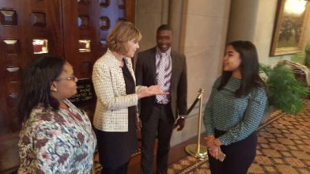 NYS Senator Catharine Young talks with Jayla, Kalif, and Natselyne