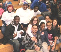 EDP staff, students, and alumni at basketball game