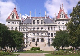 The NYS Capitol building in Albany, NY, houses the senate and assembly of the NYS legislature.