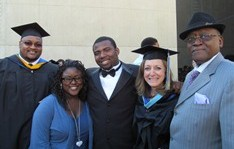 Amos Goodwine, Jr., far right, with EDP staff and students