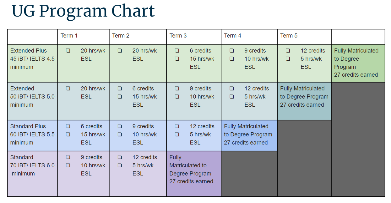 UG Program Chart Sample