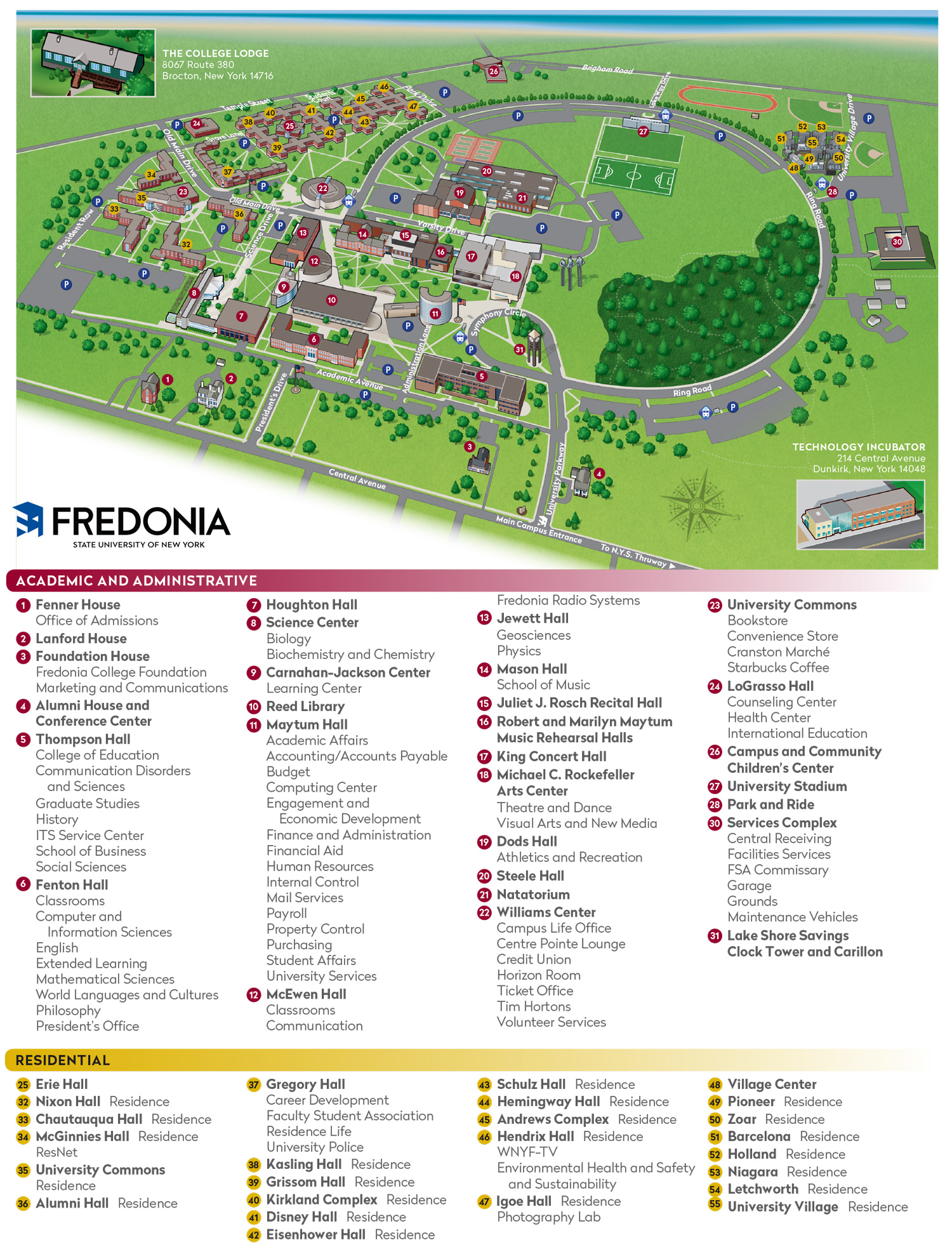State University of New York at Fredonia campus map