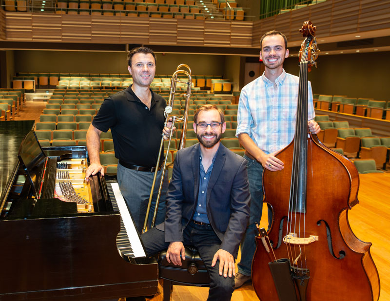 three jazz faculty in the Fredonia School of Music