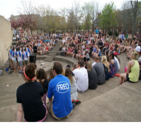 Students Gathered Around the Amphitheatre