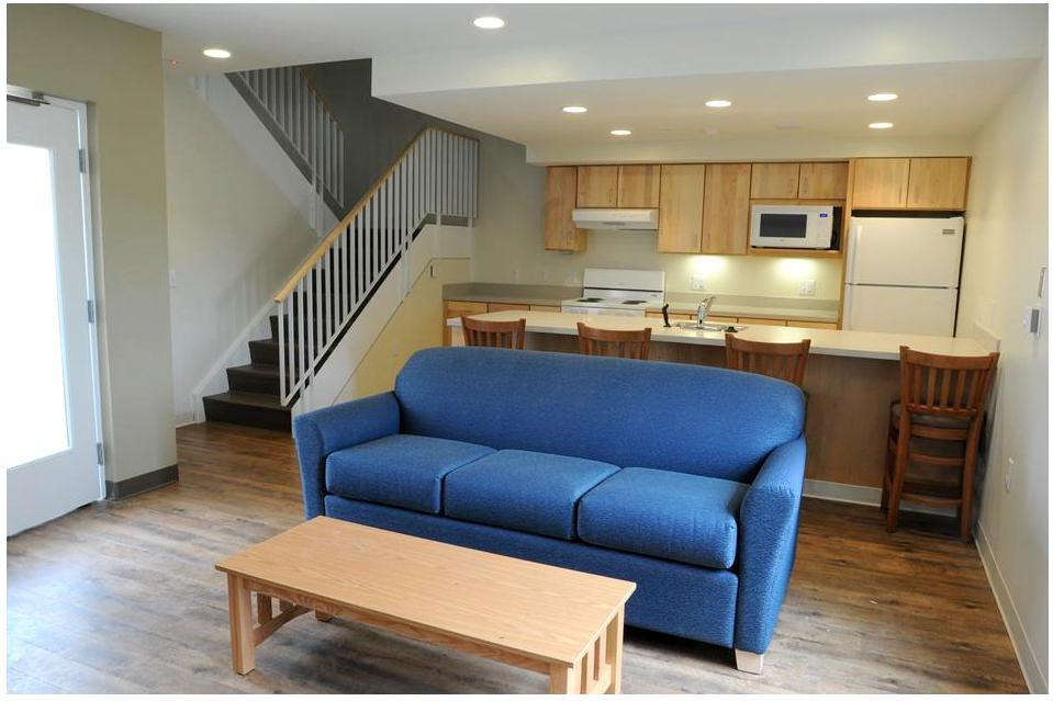 Image of living room in a three story townhouse unit