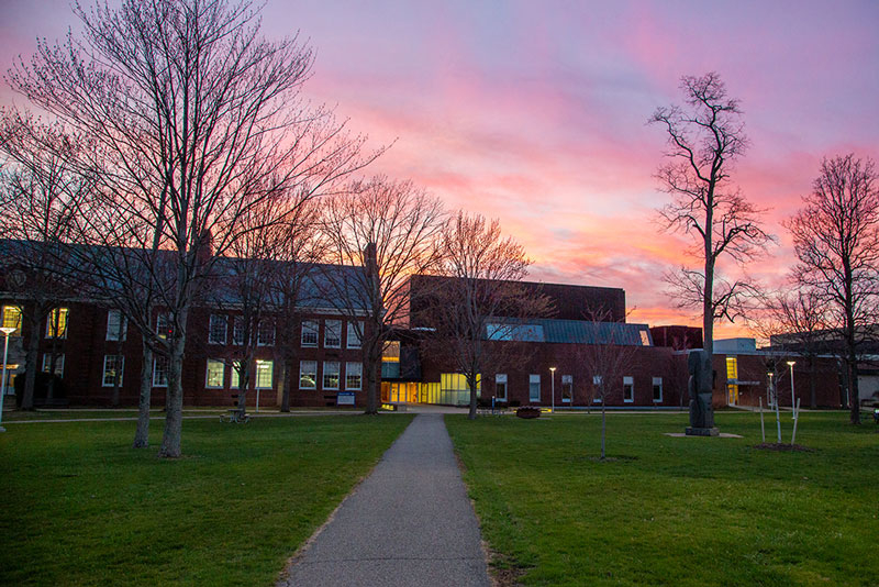 spring sunset on campus