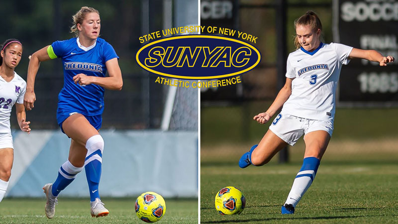 All-SUNYAC selections Lauren Cullinan, left, and Izzy Audette (photo by Ron Szot).