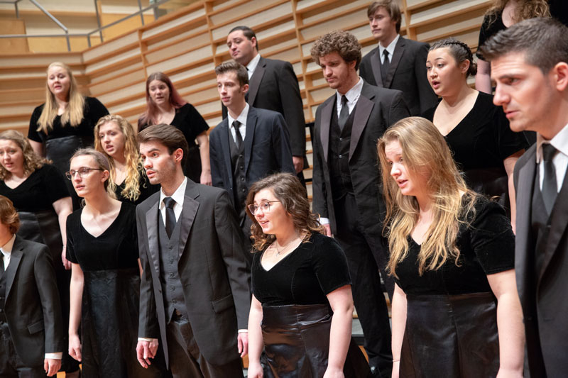 Members of the Fredonia Chamger choir singing