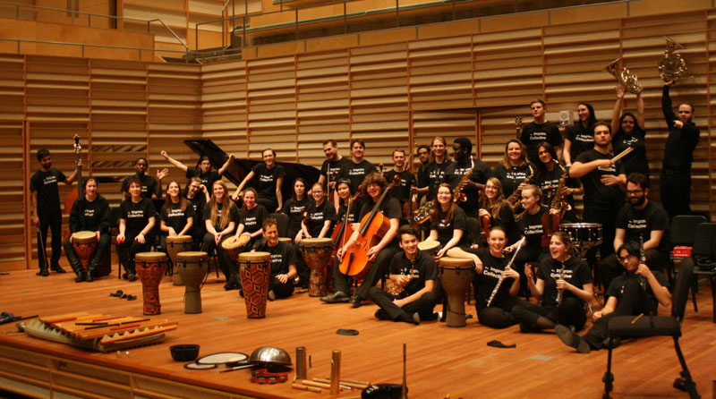 music students on stage with instruments