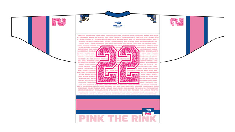 Pink the Rink jerseys to honor all in 2021; goal to surpass
