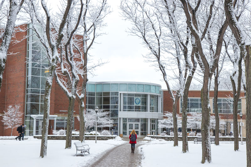 lovely winter scene on the Fredonia campus