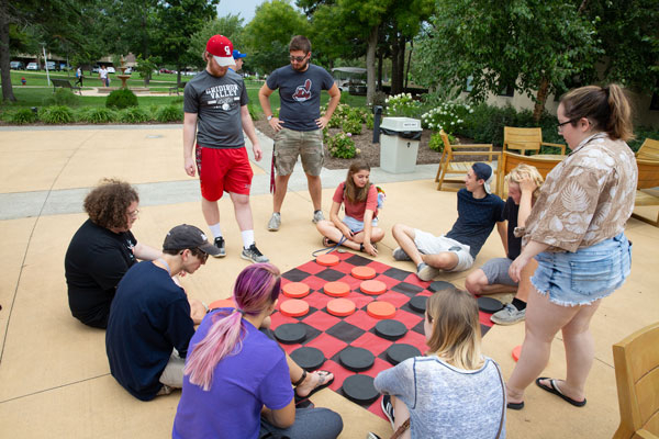 students play game on Williams Center patio