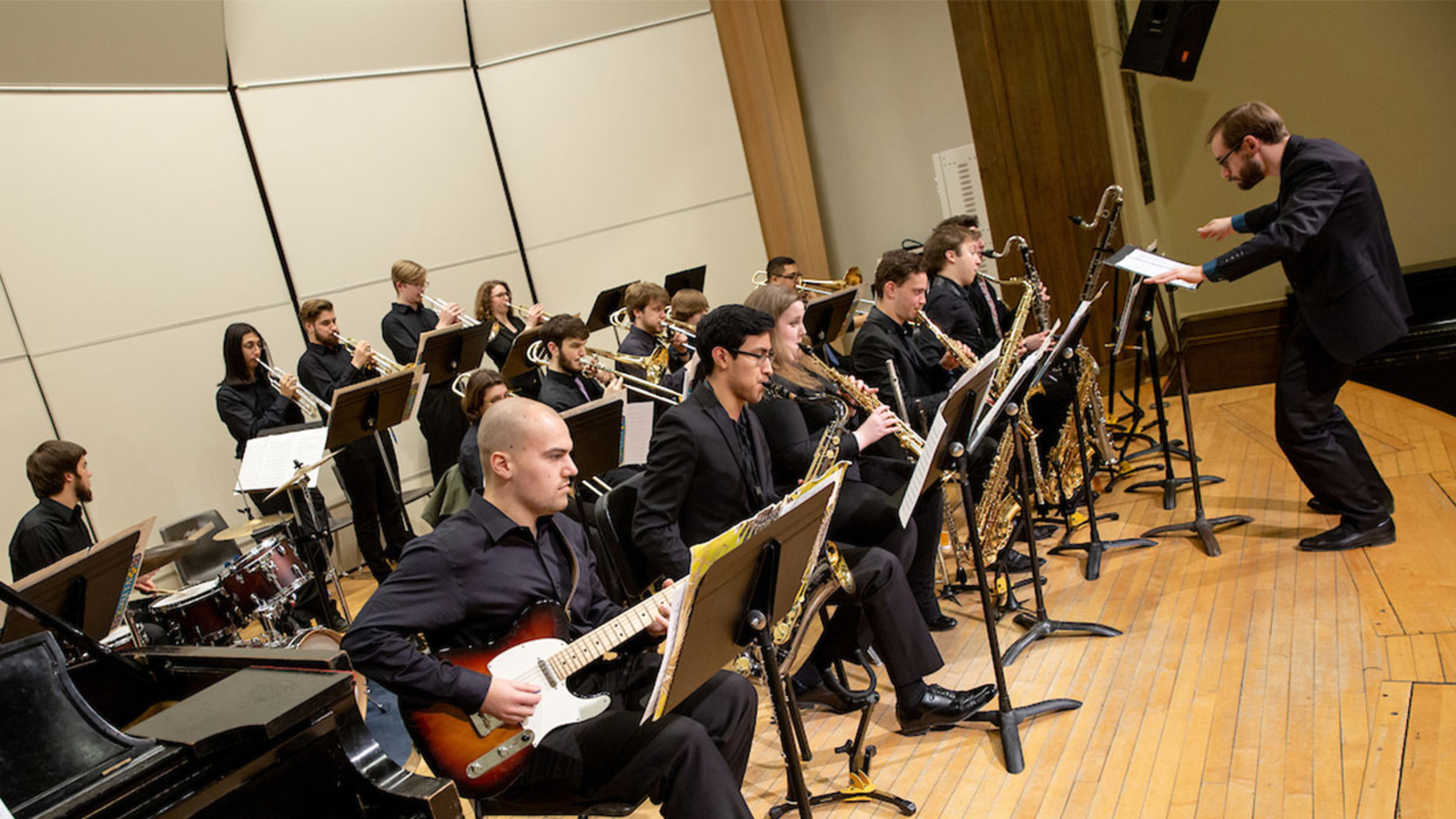 new jazz band performs in Rosch Recital Hall