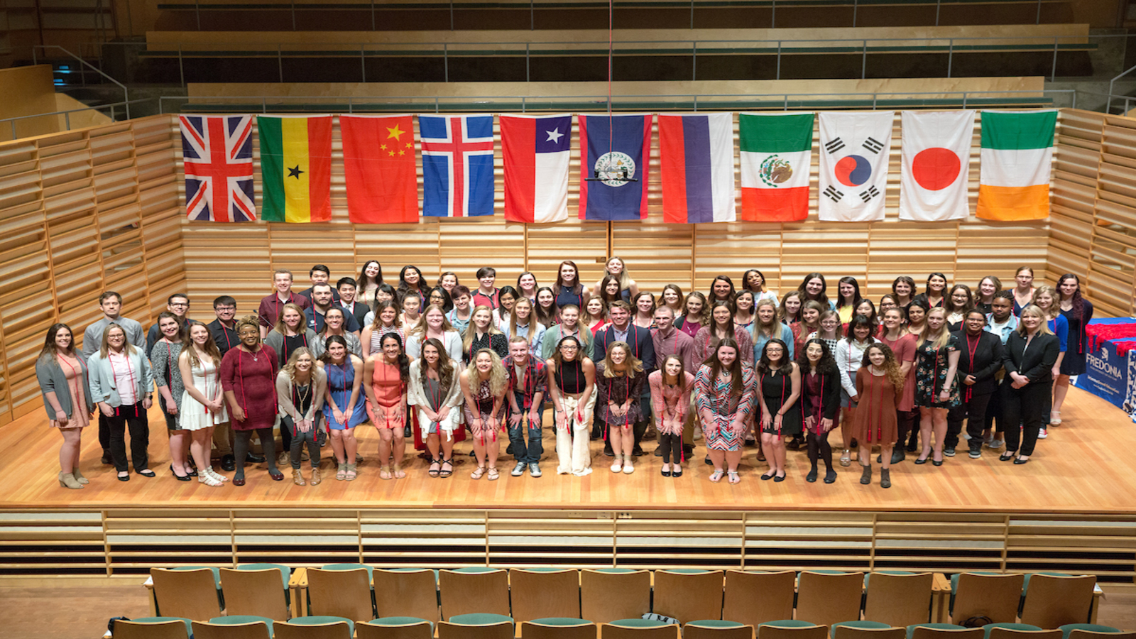 Group photo from International Student Reception in Rosch Hall