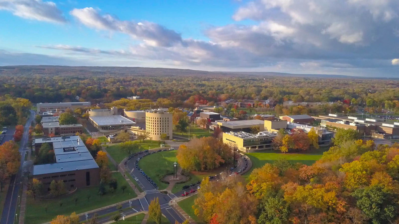 aerial photos of Fredonia campus in fall