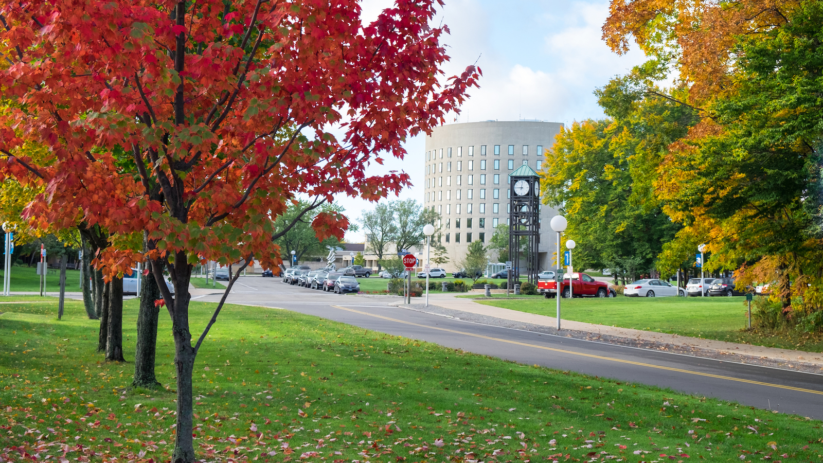 Picture of Maytum Hall with leaves on trees changing colors