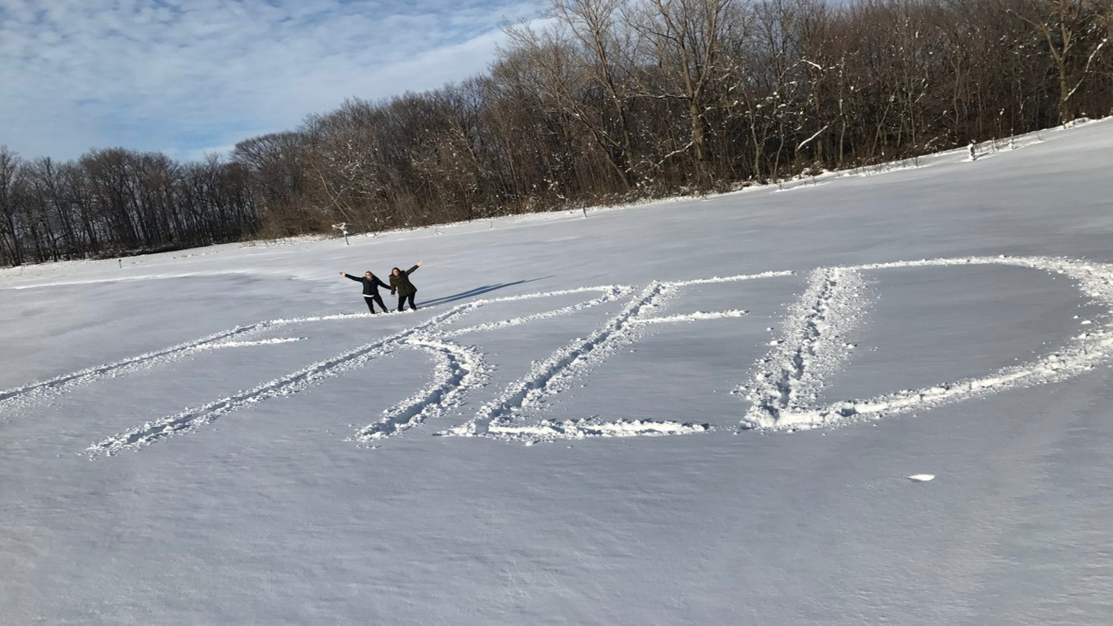 "students wrote ""FRED"" in the snow after a storm"