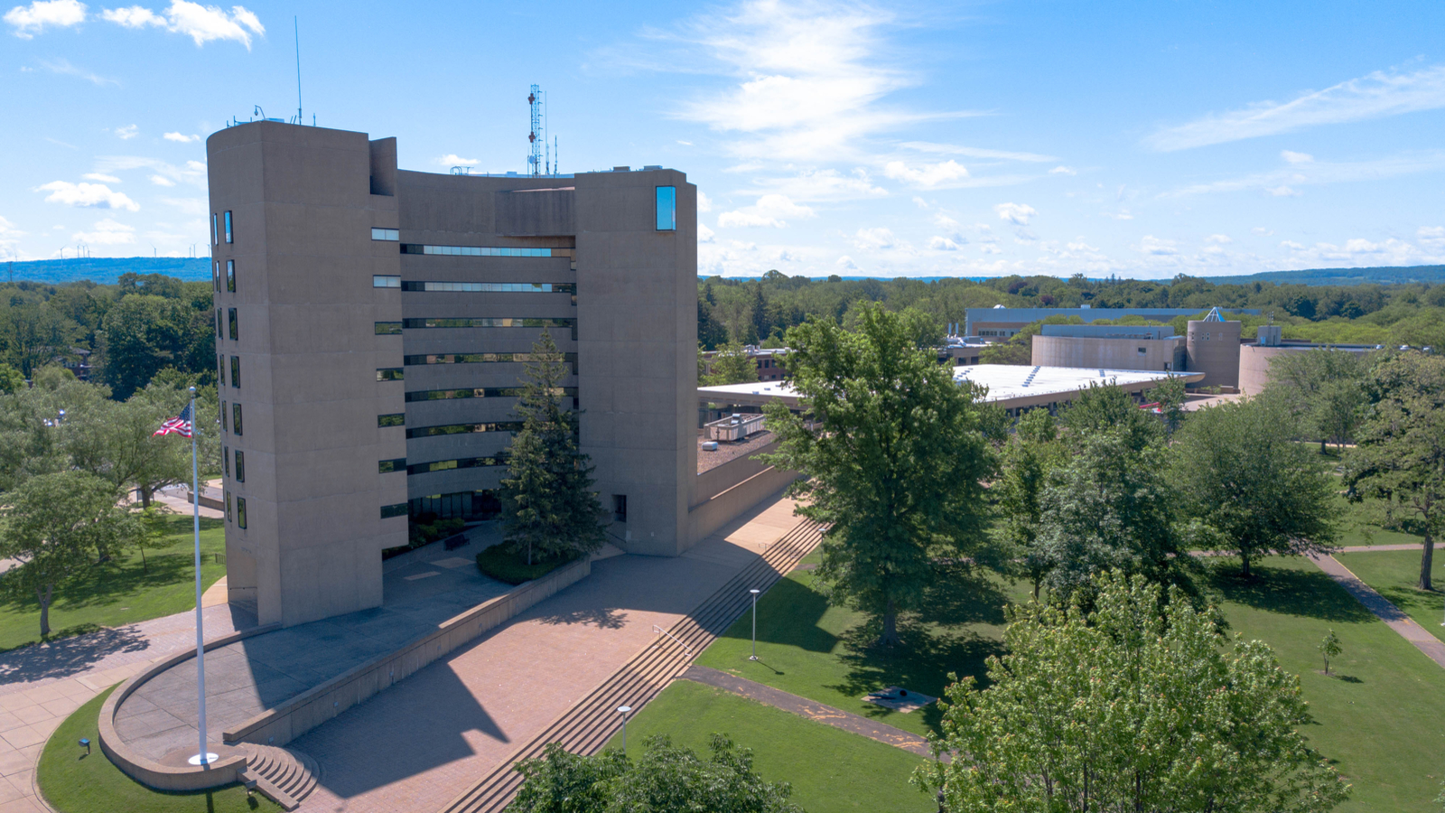 Aerial photo of Maytum Hall