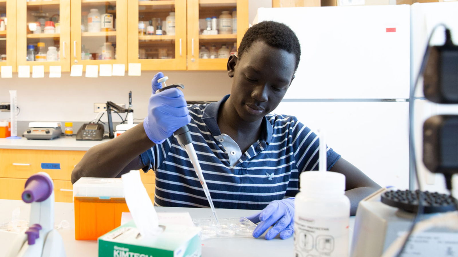Student in lab at Fredonia Science Complex