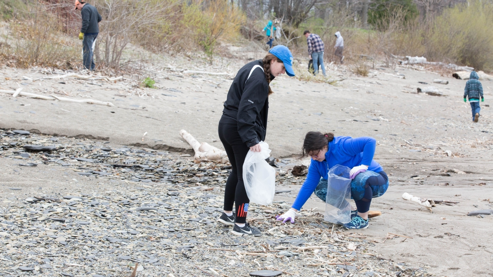 fredonia students cleaning up a local beach