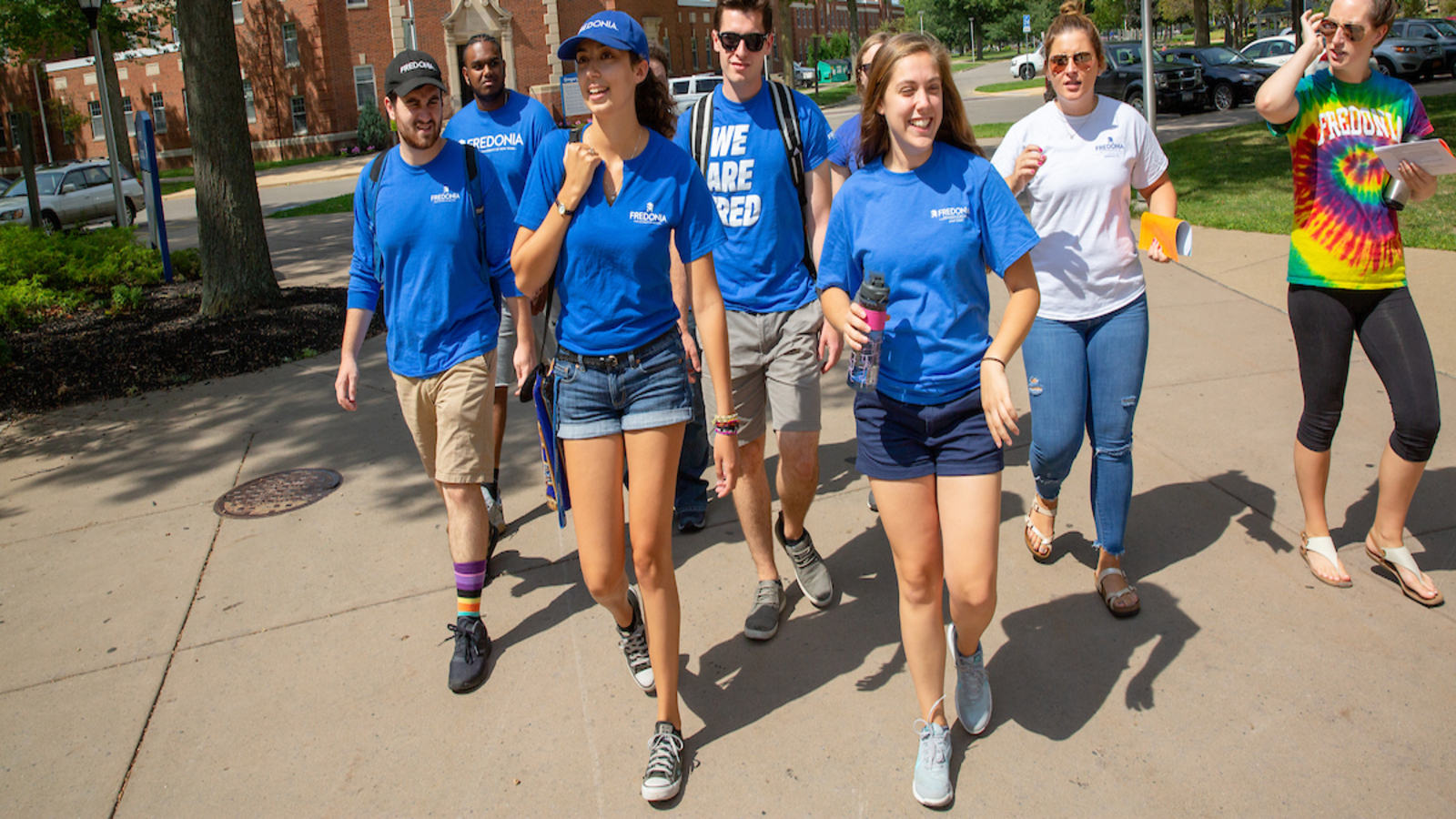 fredonia students walk across campus
