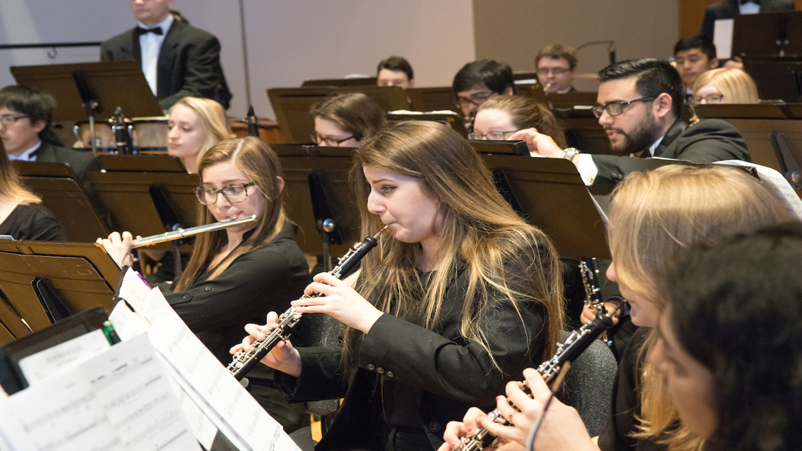 wind ensemble performs in King Concert Hall