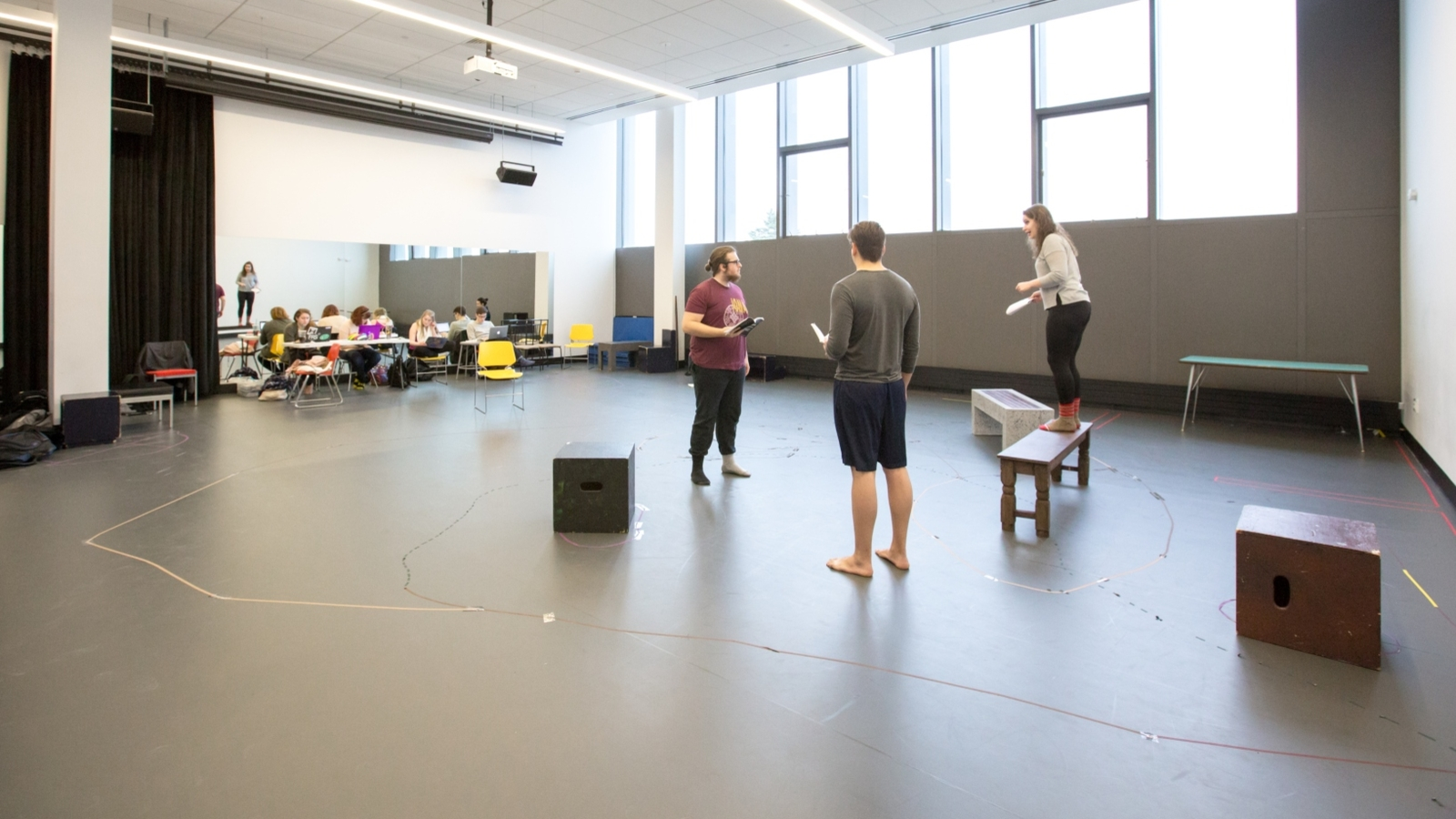 students work in an acting class