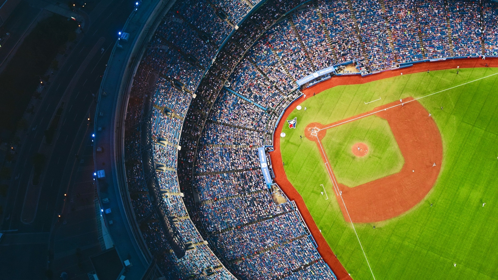 aerial photo of a baseball stadium