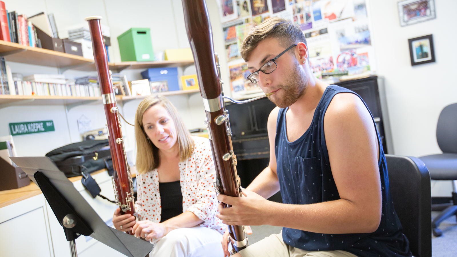 student in a bassoon lesson