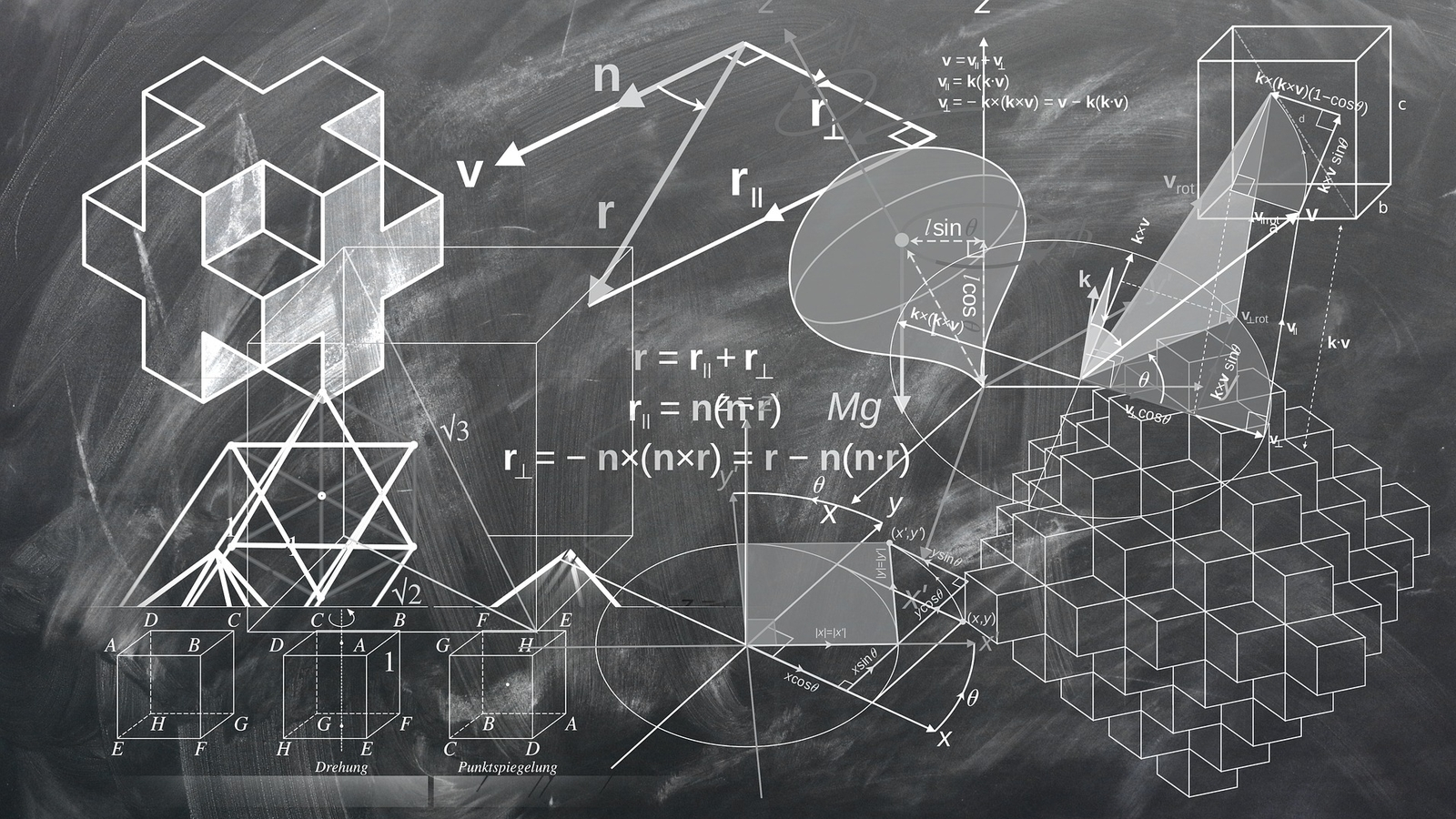 image of math equations and problems on a chalkboard
