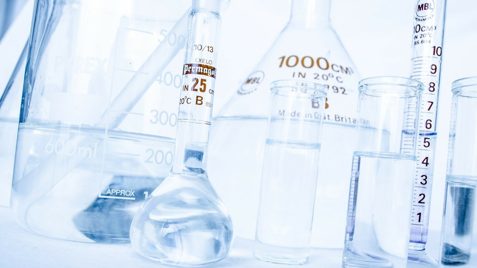 closeup of flasks and beakers in a chemistry lab