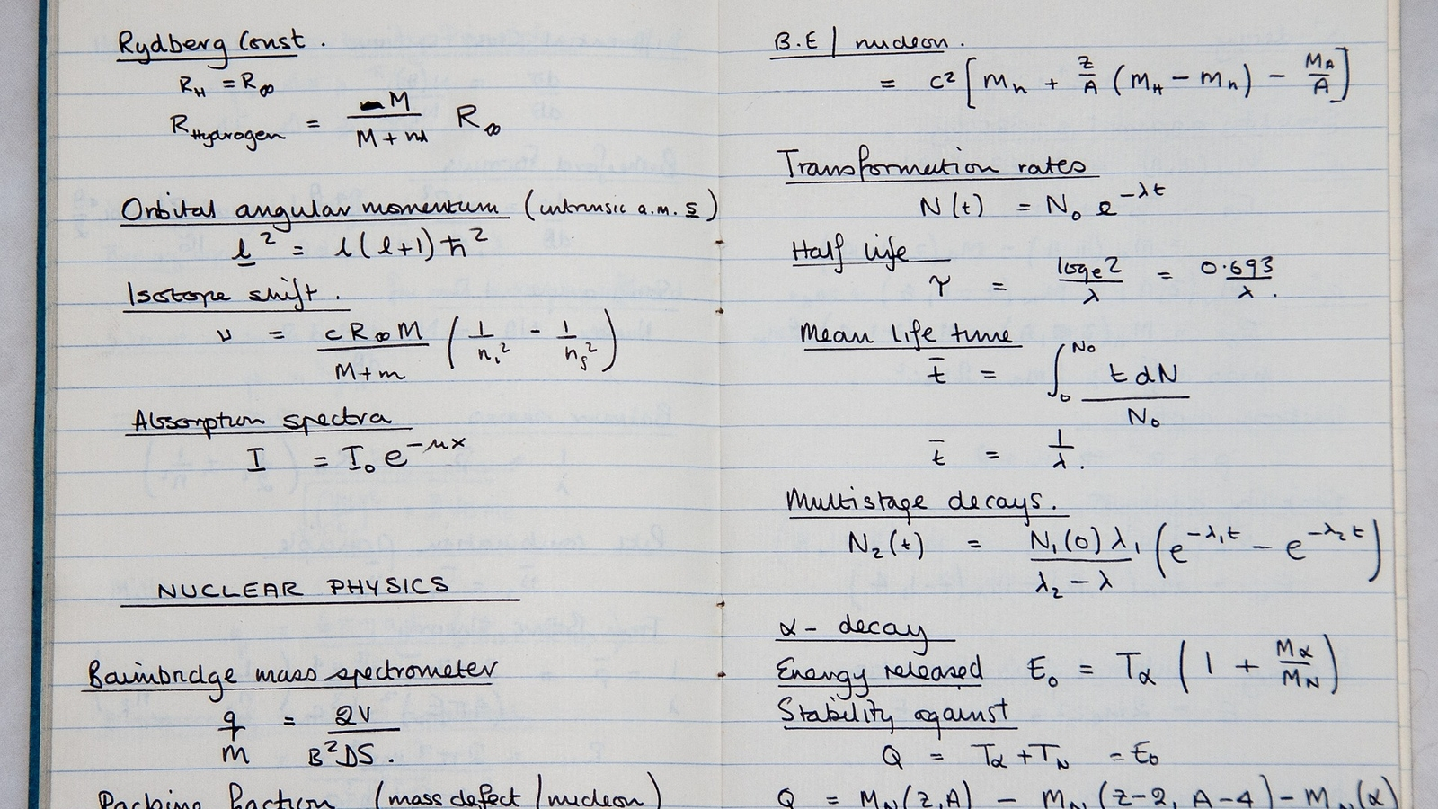 a student's notebook filled with physics information