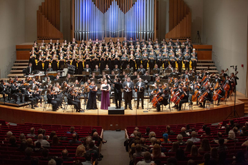 choir and orchestra in King Concert Hall