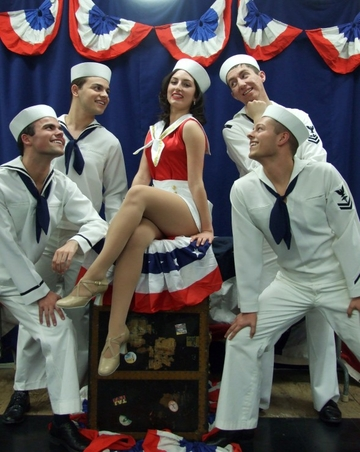 "cast performs ""Anything Goes"" on stage"