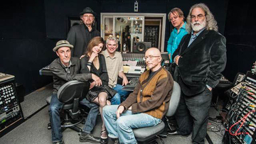 Armand Petri with members of the 10,000 Maniacs