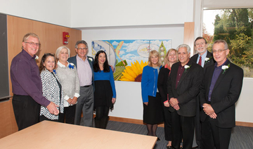 the painting Cathexis 2014 at dedication of Science Center