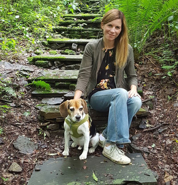 Dr. Emily VanDette, at Quarry Farm steps.