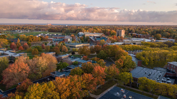 campus and fall foliage