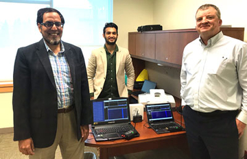 Dr. Junaid Zubairi (left), with Inderdeep Singh Bajwa (center) and Fredonia Technology Incubator Director Chuck Cornell