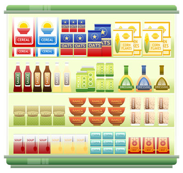 illustration of food on shelves