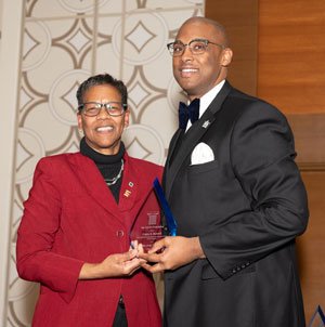 Dr. Cedric Howard and Dr. Bette Simmons, NASPA Foundation board chair.